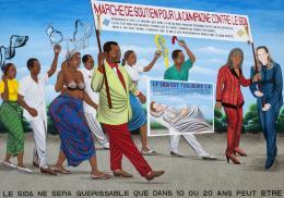 Chéri Samba, La Marche de soutien contre le SIDA, 2006, Collection Lucien Bilinelli, Brussels / Milan. Acryl auf Leinwand, 200 x 288,5 cm