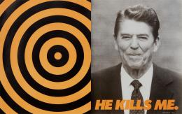 Donald Moffett, He Kills Me, 1987, Courtesy of the artist and Marianne Boesky Gallery, New York and Aspen. Poster, Offset-Lithographie, 59.7 x 95.3 cm