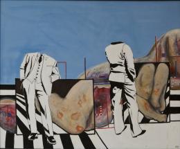 """Uwe Lausen, Geometer (die Geometer), 1965, Kunstharzfarbe auf Leinwand, 180,50 x 221 cm, """"dasmaximum"""", Traunreut, Foto: Franz Kimmel © VG Bild-Kunst, Bonn 2020"""