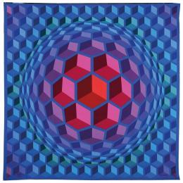 Victor Vasarely (1906–1997), Cheyt Pyr, 1977. Manufacture de Beauvais, 258 × 258 cm, Wolle; Sammlung Mobilier national. © Victor Vasarely / VG Bild-Kunst, Bonn 2019, Foto: Isabelle Bideau