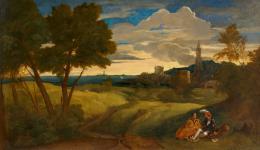 Tiziano Vecellio zugeschrieben, Abendlandschaft mit Figurenpaar, um 1518–1520Öl auf Papier auf Leinwand, 34,1 x 58 cm, Kunsthaus Zürich, Geschenk der Dr. Joseph Scholz Stiftung, 2019