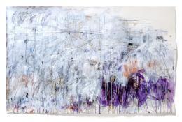 Jakob Kirchmayr, Verwandt mit Berggegenden, 2019, 113,5 x 181 cm, Farbstift, Gesso, Tusche, Acryl auf Papier | Foto: Jakob Kirchmayr © Bildrecht, Wien 2019