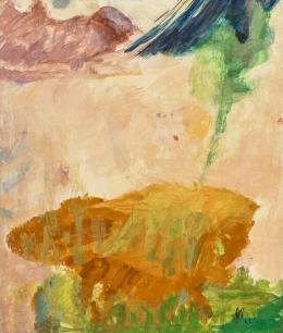 """Max Weiler, Wie eine Landschaftr, Felsblock, 1962, Eitempera auf Leinwand, 130 x 110 cm, monogrammiert r. u. """"MW62"""" © Robert Najar"""
