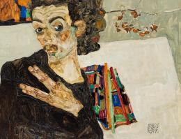 Selbstbildnis, 1911  Egon Schiele Öl auf Holz © Wien Museum