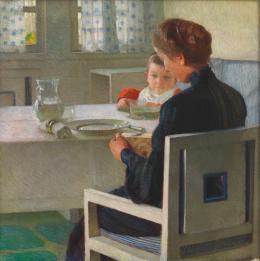 Mutter mit Kind bei Tisch (Beim Frühstück), 1903  Carl Moll Öl auf Leinwand © Wien Museum