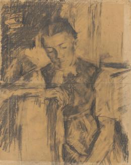 Dreiviertelfigur eines sitzenden Bauernmädchens, um 1897 Schwarze Kreide und Kohle, teilweise gewischt, auf Papier Albertina, Wien