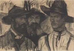 Die Wildschützen, um 1882 Kohle auf Papier Sammlung David Lachenmann © Reto Pedrini, Zürich