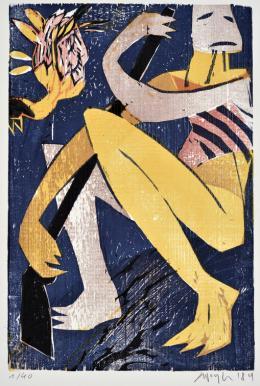 "Konrad Winter, ""Zulufrauen 1"", 1984, Farbholzschnitt, 37 x 24,5 cm"