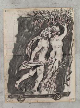 William Kentridge: Apollo and Dafner, 2014-2016. Charcoal on found ledger pages, 62 x 46,5 cm; © the artist. Photo Credit: © the artist