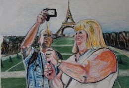Rainer Wolf: Selfie vor dem Eiffelturm (© Karlheinz Pichler)