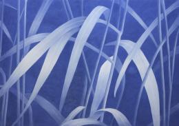 Franz Gertsch, Gräser VIII, 2019/20, Eitempera auf ungrundierter Baumwolle, 240 x 340 cm, Besitz des Künstlers © Franz Gertsch