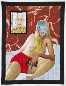 Xénia Laffely: J'ai la gueule tordue (2019). Mehrere Lagen von bedrucktem Satin und gestepptem Samt, 160 x180 © Xénia Laffely, Foto: © Myriam Ziehli