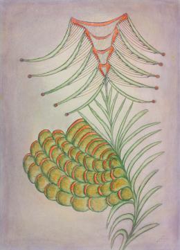 Anna Zemánková, Ohne Titel/Untitled, 1970, Pastellfarben auf Papier/pastell colours on paper, 62 x 45 cm, Courtesy galerie gugging