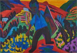Hermann August Scherer (1893 –1927), Der Maler, um 1925, Öl auf Jute, 100.5 x 116.5 cm, Privatsammlung