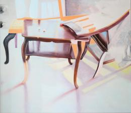"""Judith Zillich, """"Sonne, braun und orange"""", 2021, Öl auf Leinwand, 130 x 150 cm © Judith Zillich"""