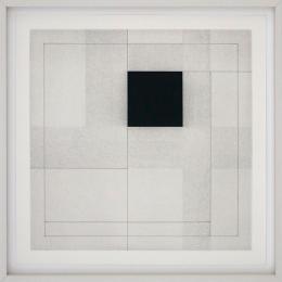 © Ray Malone, p.m.II/6, 2003, Kohle und Pigmenttinte auf Papier, gerahmt, 40 x 40 auf 51 x 51 cm