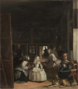 Robert Zünd, Las Meninas (Kopie nach Velázquez), undatiert Öl auf Leinwand, 52 x 45 cm, Kunstmuseum Luzern, Leihgabe aus Privatbesitz
